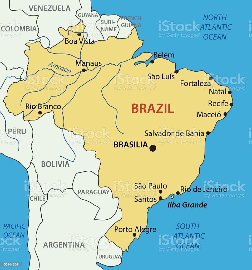 Federative Republic of Brazil - vector map vector art illustration