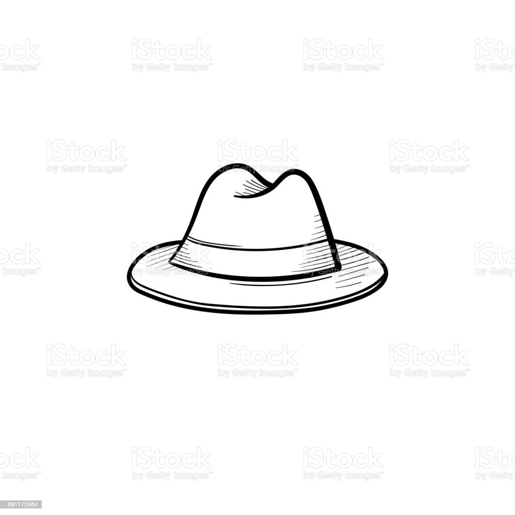 Fedora hat hand drawn sketch icon vector art illustration