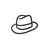 Fedora hat sketch icon