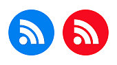 RSS Feed icon isolated on flat trendy round button set