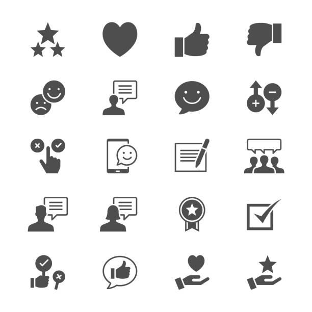 Feedback und Bewertung flache Symbole – Vektorgrafik