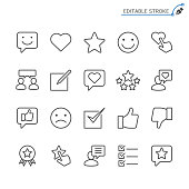 istock Feedback and review line icons. Editable stroke. Pixel perfect. 892808002