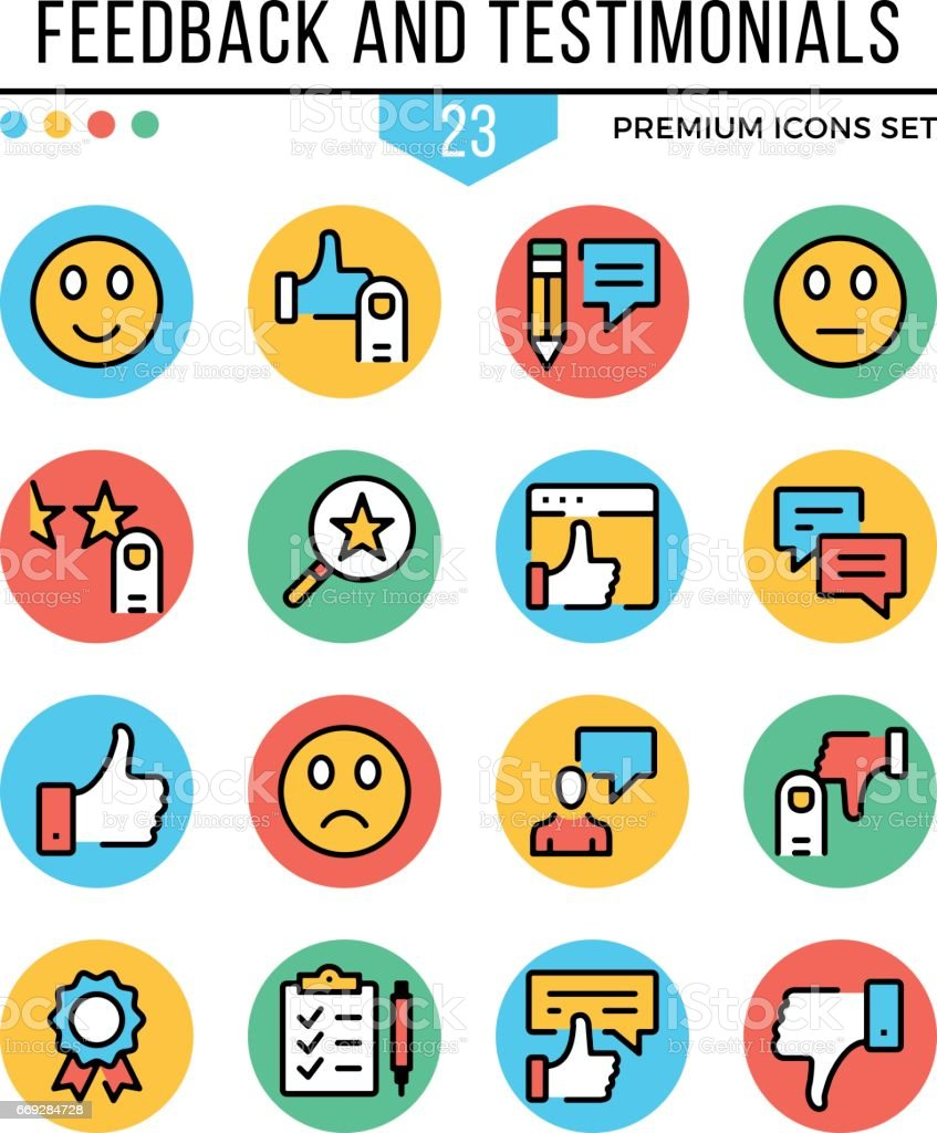 Feedback and testimonials icons. Modern thin line icons set. Premium quality. Outline symbols, graphic concepts, round flat line icons. Vector illustration vector art illustration