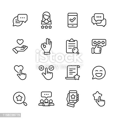 16 Feedback and Testimonials  Outline Icons.