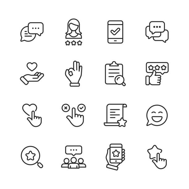 Feedback and Testimonials  Line Icons. Editable Stroke. Pixel Perfect. For Mobile and Web. Contains such icons as Feedback, Testimonials, Survey, Review, Clipboard, Happy Face, Like Button, Thumbs Up, Badge. 16 Feedback and Testimonials  Outline Icons. happiness stock illustrations