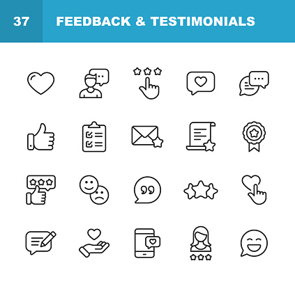 Feedback and Testimonials Line Icons. Editable Stroke. Pixel Perfect. For Mobile and Web. Contains such icons as Feedback, Testimonials, Survey, Review, Clipboard, Happy Face, Like Button, Thumbs Up, Badge.