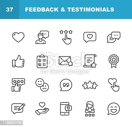 istock Feedback and Testimonials Line Icons. Editable Stroke. Pixel Perfect. For Mobile and Web. Contains such icons as Feedback, Testimonials, Survey, Review, Clipboard, Happy Face, Like Button, Thumbs Up, Badge. 1158830786
