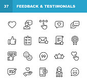 20 Feedback and Testimonials  Outline Icons.