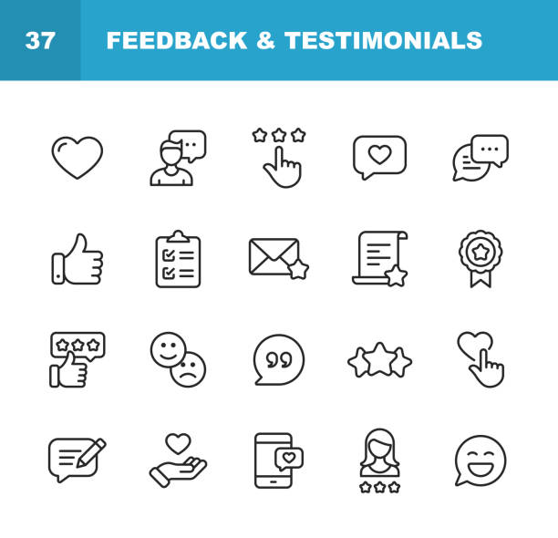 Feedback and Testimonials Line Icons. Editable Stroke. Pixel Perfect. For Mobile and Web. Contains such icons as Feedback, Testimonials, Survey, Review, Clipboard, Happy Face, Like Button, Thumbs Up, Badge. 20 Feedback and Testimonials  Outline Icons. happiness stock illustrations