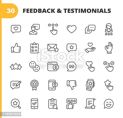 30 Feedback and Testimonials  Outline Icons.