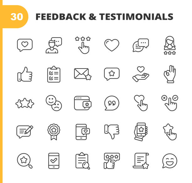 feedback and testimonials line icons. editable stroke. pixel perfect. for mobile and web. contains such icons as feedback, testimonials, survey, review, clipboard, happy face, like button, thumbs up, badge. - evaluation stock illustrations