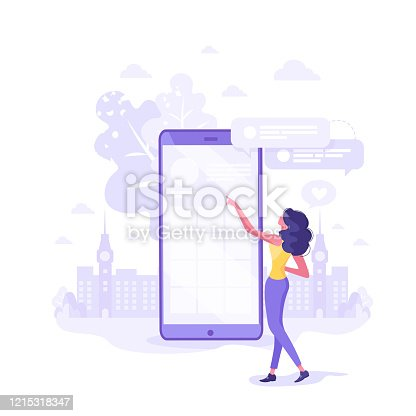 Feedback between Costumer and Support Modern Flat Vector Illustration. Client Woman Character Standing near Smartphone Touching Screen Mobile Phone to ask Information Service Center. Online Help.