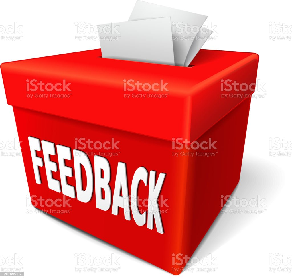 feedback box words on the red box vector art illustration
