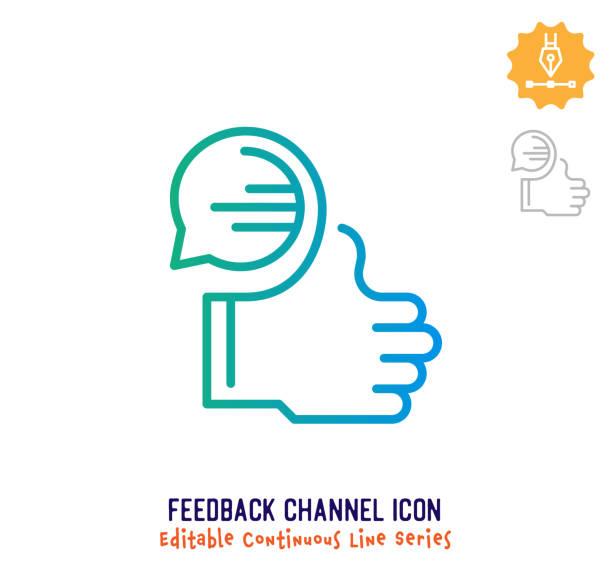 feedback channel continuous line editable icon - feedback stock-grafiken, -clipart, -cartoons und -symbole