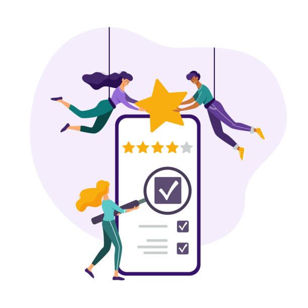 feedback-konzept. kunden überprüfen die bewertung. menschen, die fünf sterne bewertung auf einem riesigen smartphone. flache vektor-illustration. - feedback stock-grafiken, -clipart, -cartoons und -symbole