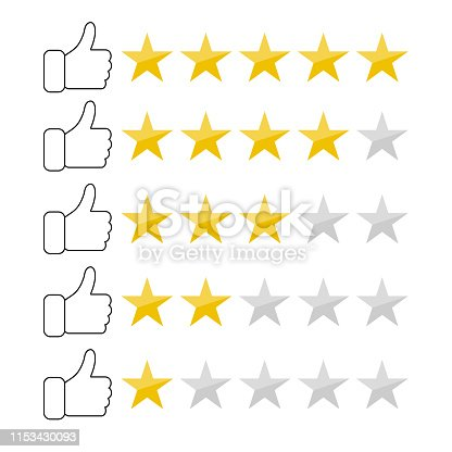Feedback concept vector with thump up and five stars, flat design vector