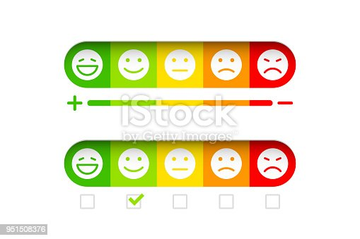 Feedback concept with different emoticons, vector illustration