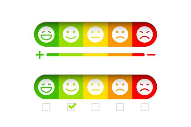 Concept de rétroaction avec l'émoticônes différents - Illustration vectorielle