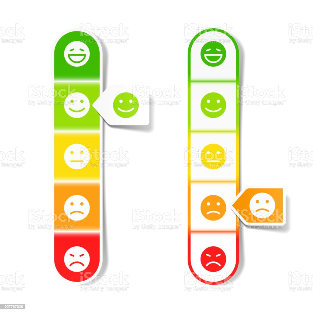 Feedback concept with different emoticons vector art illustration