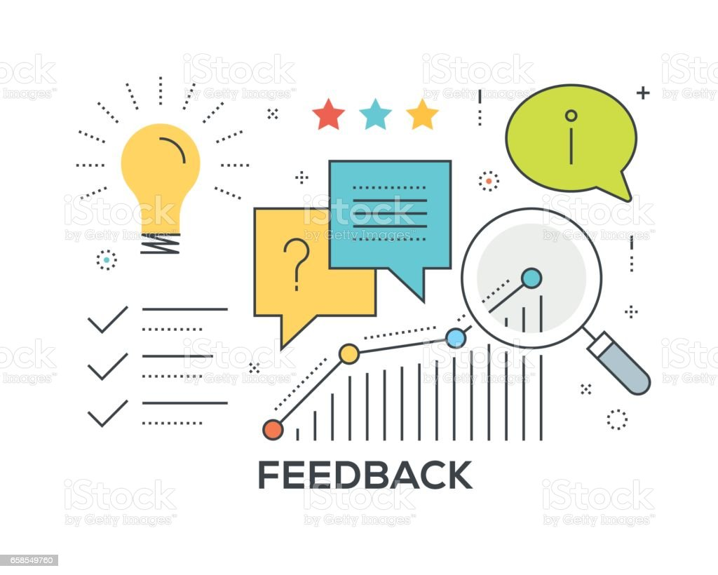 Feedback Concept with icons vector art illustration