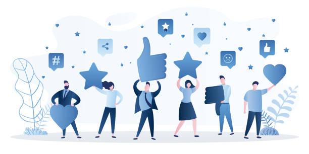 ilustrações, clipart, desenhos animados e ícones de avaliação de avaliação de consumidores ou clientes de feedback, nível de satisfação e ícone crítico. suporte de satisfação empresarial. - costumer