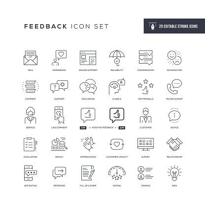 Feedback Editable Stroke Line Icons