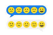 Feedback emoticon emoji smiley icon in chat bubbles. Feedback in form of emotions in message. Vector illustration