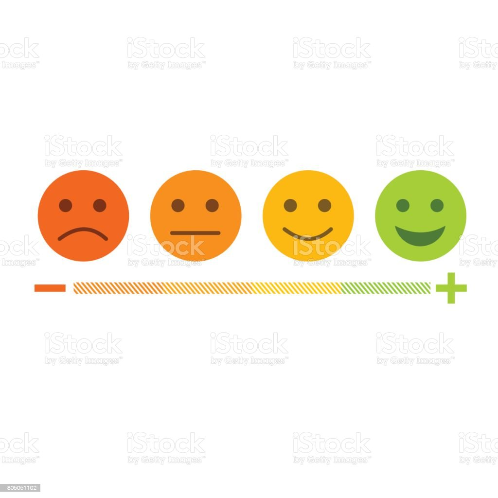 Feedback emoticon flat design icon set from negative to positive vector art illustration