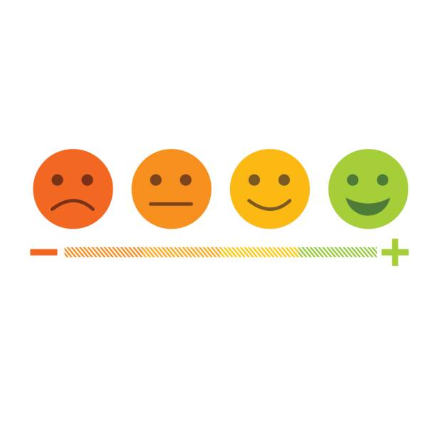 feedback emoticon flat design icon set from negative to positive - happy emoji stock illustrations, clip art, cartoons, & icons