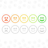 Feedback emoticon set in flat style. User experience, customer feedback or review concept. Rank or level of satisfaction rating. Vector illustration. EPS 10.