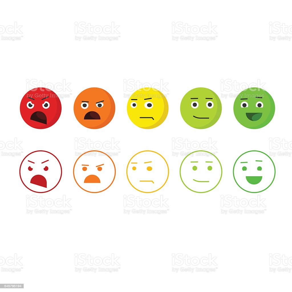 Feedback emoticons vector icons, concept of satisfaction rating emoji vector art illustration