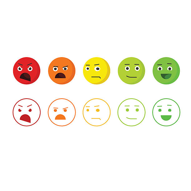feedback emoticons vector icons, concept of satisfaction rating emoji - angry emoji stock illustrations, clip art, cartoons, & icons