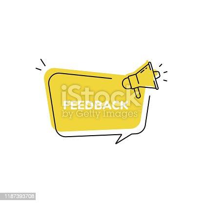 istock Feedback Icon, Quick Tips Badge and Megaphone Speech Bubble Modern Flat Design. 1187393708