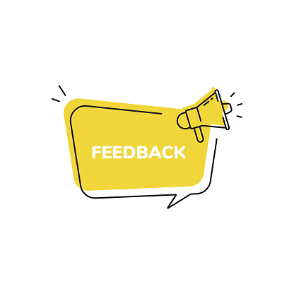 Feedback Icon, Quick Tips Badge and Megaphone Speech Bubble Modern Flat Design.