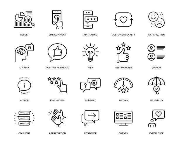 feedback-icon-set - daumen hoch stock-grafiken, -clipart, -cartoons und -symbole