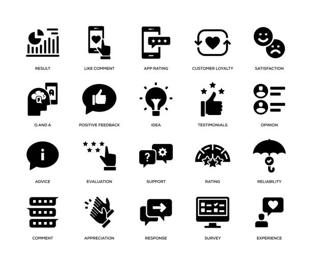 Feedback Icon Set Feedback Icon Set survey icon stock illustrations