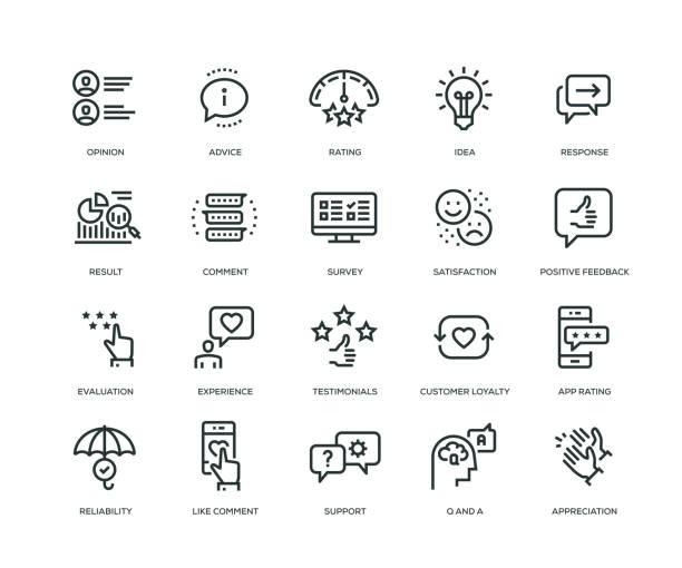 Feedback Icons - Line Series Feedback Icons - Line Series faq stock illustrations