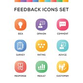 Feedback Icons Set on Gradient Background