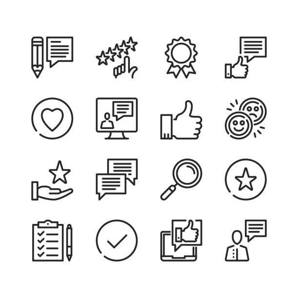 feedback-icons gesetzt. online-umfrage, rezension, kundenerfahrung, gute qualität konzepte. pixel perfekt. lineare, umrisssymbole. dünne linie design. vektorzeilensymbole setzen - feedback stock-grafiken, -clipart, -cartoons und -symbole