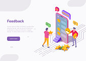 Feedback isometric landing page, web banner. Clients stand at smartphone screen leaving review and put stars in mobile app. Customers evaluate product or service technology. 3d vector illustration.
