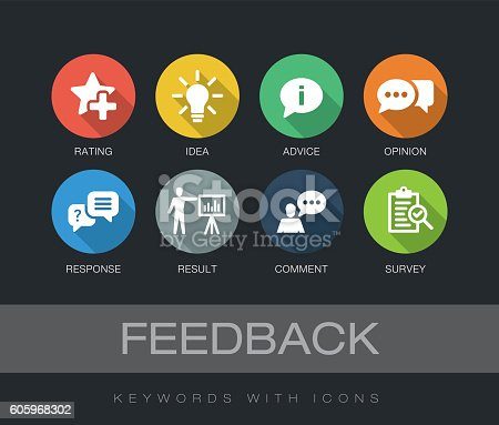Feedback chart with keywords and icons. Flat design with long shadows
