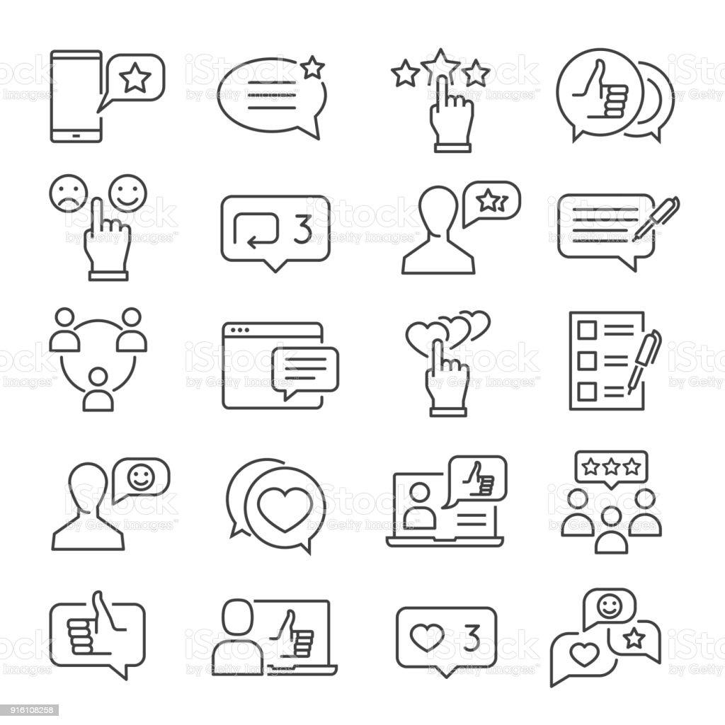 Feedback line icon set vector art illustration
