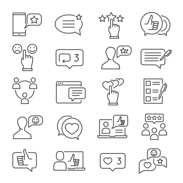 Feedback line icon set Feedback line icon set. Business information about reactions to a product, statements of opinion in speech bubbles. Vector line art illustration experience stock illustrations