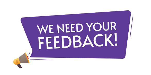 Feedback need loud message from megaphone loudspeaker information message concept flat cartoon text illustration