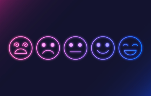 Feedback Rating Faces Glowing Neon