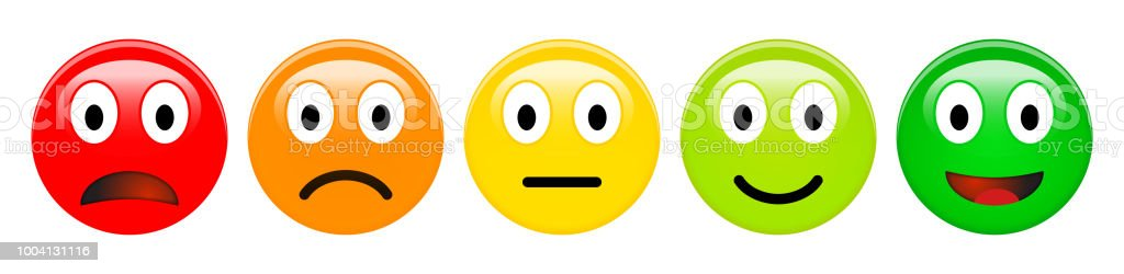 Feedbackratingskala Von Rot Orange Gelb Und Grün Emoticons