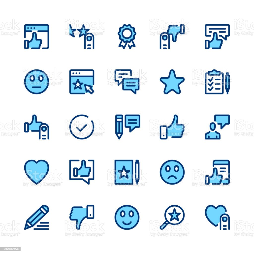 Feedback, recommendation, testimonials, customer review line icons set. Modern graphic design concepts, simple symbols, linear stroke web elements, pictograms collection. Minimal thin line design. Premium quality. Pixel perfect. Vector outline icons vector art illustration