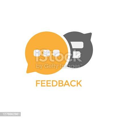 istock Feedback Speech Bubble Icon Vector Design. 1276662661