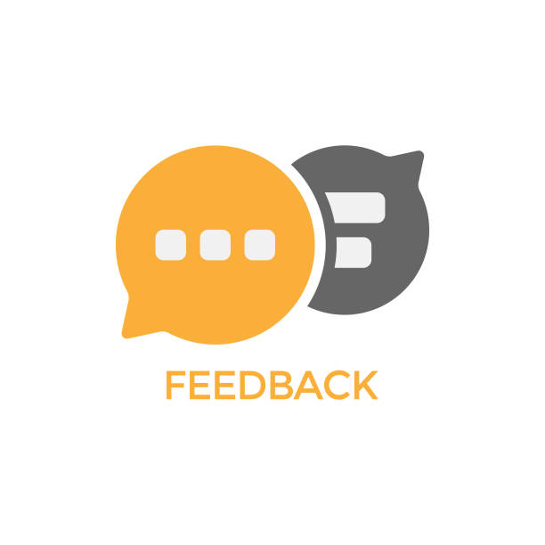 ilustrações, clipart, desenhos animados e ícones de design vetorial de ícone de bolha de fala de feedback. - feedback