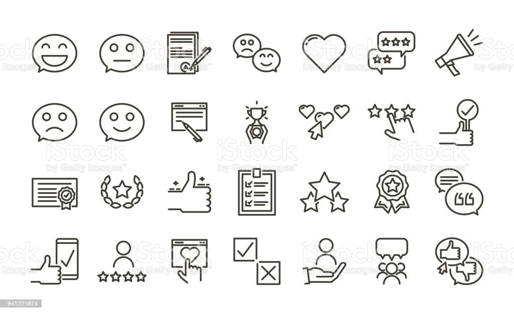 Feedback, testimonial evaluation and review icon set. Customer satisfaction online survey concepts. Vector thin line trendy design illustration.